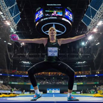 Nadine Müller mit Sieg im Diskuswerfen beim 6. Istaf Indoor in Berlin 2019