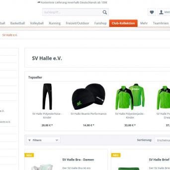 Screenshot zum SV-Halle-Online-Shop bei Sport39