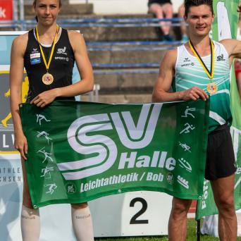 Lucie Kienast und Till Steinforth bei den Mitteldeutschen Leichtathletikmeisterschaften